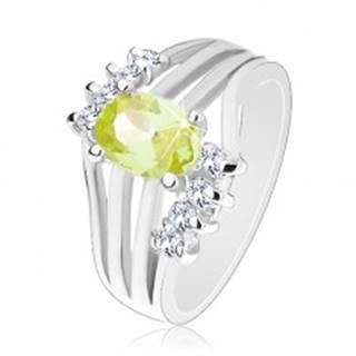 Ligotavý prsteň striebornej farby, farebný oválny zirkón, lesklé pásy, číre zirkóny - Veľkosť: 50 mm, Farba: Žltá
