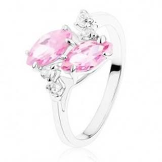 Ligotavý prsteň v striebornom odtieni, dve ružové zirkónové zrnká, číre zirkóniky - Veľkosť: 52 mm