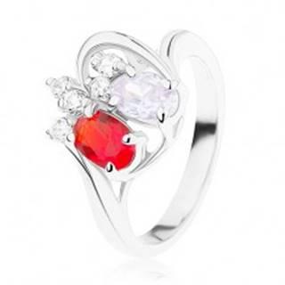 Ligotavý prsteň z ocele, červený a fialový zirkónový ovál, číre zirkóniky - Veľkosť: 49 mm