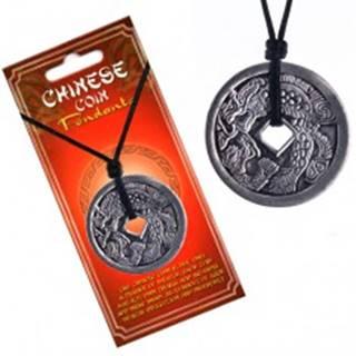Náhrdelník s príveskom mince - drak chrliaci oheň, čínske znaky