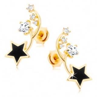 Náušnice v žltom 14K zlate - dva tenké oblúčiky, čierna a zirkónová hviezdička