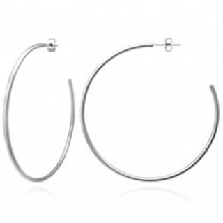 Náušnice z ocele - jednoduché veľké kruhy striebornej farby, 65 mm