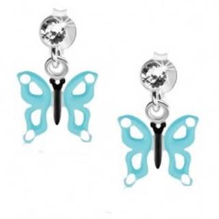 Náušnice zo striebra 925, číry krištáľ, motýľ so svetlomodrými krídlami, výrezy
