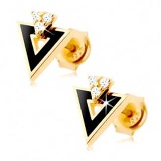 Náušnice zo žltého 14K zlata - čierny trojuholník s výrezom, číre zirkóniky