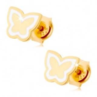 Náušnice zo žltého 14K zlata - lesklý plochý motýlik, kontúra z bielej glazúry
