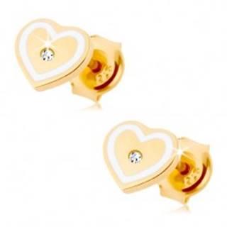 Náušnice zo žltého 14K zlata - srdiečko so zirkónikom a obrysom z bielej glazúry