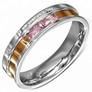 Oceľová obrúčka, ružové zirkóny, gravírované vyznanie lásky - Veľkosť: 49 mm
