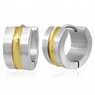 Oceľové náušnice - dvojfarebné obruče so stredovým pásom zlatej farby
