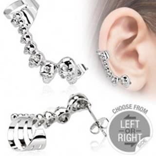 Oceľový falošný piercing do ucha, lebky, malé zirkóniky - Tvar: Ľavý