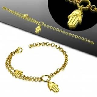 Oceľový náramok zlatej farby, dve ruky Fatimy, kruh a dvojitá retiazka