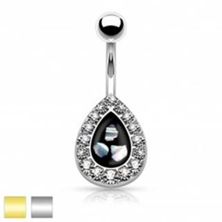 Oceľový piercing do pupku, čierna kvapka s kúskami perlete, lemovaná zirkónmi - Farba piercing: Strieborná