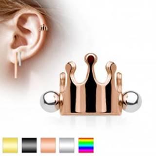 Oceľový piercing do ucha, kráľovská korunka, činka s guličkami, rôzne farby - Farba piercing: Čierna