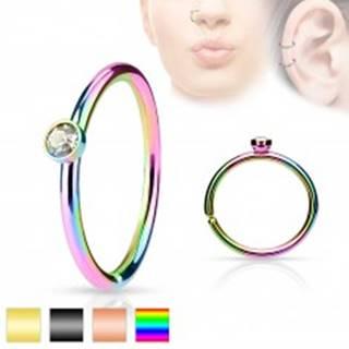 Oceľový piercing, tenký lesklý krúžok zdobený drobným čírym zirkónom - Farba piercing: Čierna