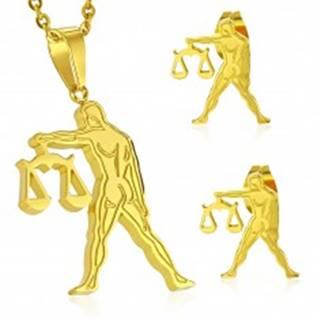 Oceľový set zlatej farby - prívesok a puzetové náušnice, znamenie VÁHY