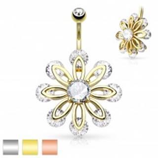 Piercing do bruška z chirurgickej ocele, veľký kvet zdobený čírymi zirkónmi - Farba piercing: Medená