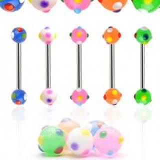Piercing do jazyka farebné bodky - Farba piercing: Biela