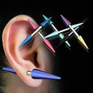 Piercing do ucha titánové špice - Farba piercing: Čierna