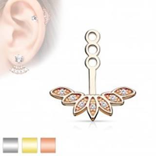 Prívesok na puzetovú náušnicu alebo piercing, oblúk z lístočkov a zirkónov - Farba: Medená