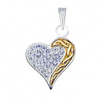 Prívesok srdca zo striebra 925 so zirkónmi a zlatou špirálou