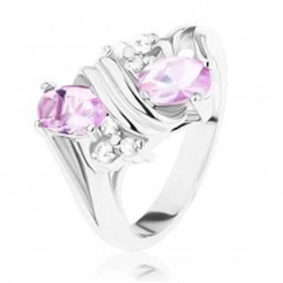 Prsteň v striebornom odtieni, ružové a číre zirkóny, dvojitá špirála - Veľkosť: 49 mm