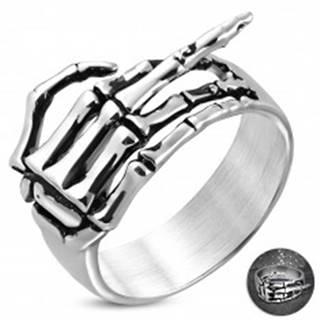 Prsteň z chirurgickej ocele - kostra ruky so zdvihnutým prstom, patina - Veľkosť: 54 mm
