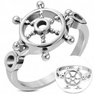 Prsteň z chirurgickej ocele striebornej farby, okrúhle lesklé kormidlo - Veľkosť: 52 mm