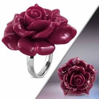 Prsteň z ocele 316L - veľká ružovofialová rozkvitnutá ruža zo živice - Veľkosť: 49 mm
