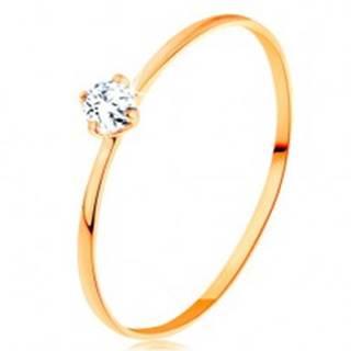 Prsteň zo žltého 14K zlata - tenké ramená, okrúhly diamant čírej farby - Veľkosť: 49 mm