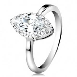 Ródiovaný prsteň, striebro 925 - číre zirkónové zrnko s trblietavým lemom - Veľkosť: 49 mm
