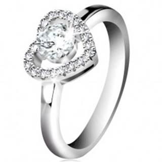 Ródiovaný prsteň, striebro 925, ligotavá kontúra srdca a okrúhly zirkón čírej farby - Veľkosť: 46 mm