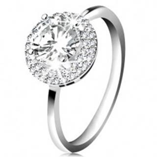 Ródiovaný prsteň, striebro 925, okrúhly zirkón čírej farby, ligotavý lem - Veľkosť: 49 mm