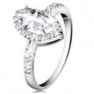 Ródiovaný prsteň, striebro 925, zrnko čírej farby so zirkónovým lemom - Veľkosť: 48 mm