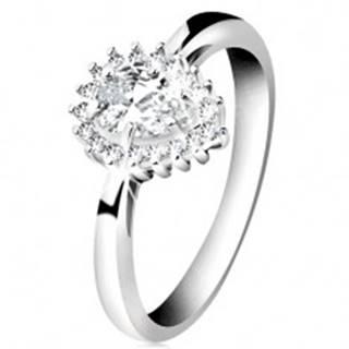 Ródiovaný prsteň zo striebra 925, ligotavá kvapka z čírych zirkónov - Veľkosť: 50 mm