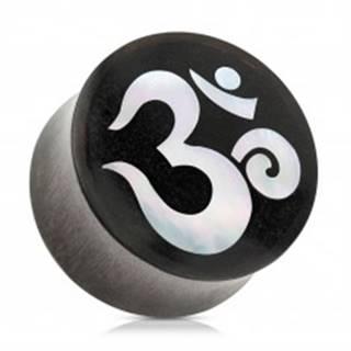Sedlový plug do ucha z dreva čiernej farby, duchovný symbol jógy ÓM - Hrúbka: 10 mm