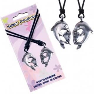 Šnúrkové náhrdelníky, prívesky BEST FRIENDS, srdiečko a delfíny