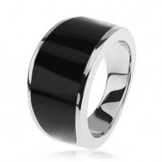 Strieborný 925 prsteň - čierny glazúrovaný pás, lesklý a hladký povrch - Veľkosť: 54 mm