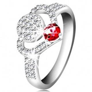 Strieborný 925 prsteň, číry zirkónový obrys srdca, kruh a ligotavý ružový zirkón - Veľkosť: 55 mm