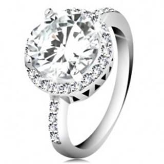 Strieborný prsteň 925, okrúhly brúsený zirkón, číry zirkónový lem - Veľkosť: 49 mm