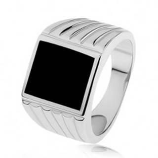 Strieborný prsteň 925, ramená so zárezmi, čierny glazúrovaný obdĺžnik - Veľkosť: 53 mm