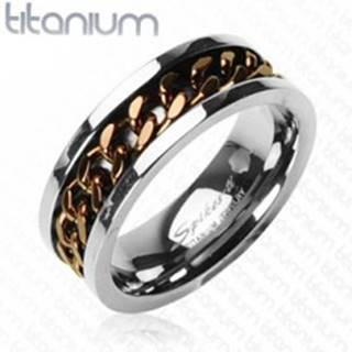 Titánový prsteň striebornej farby - reťaz v medenom farebnom odtieni - Veľkosť: 59 mm