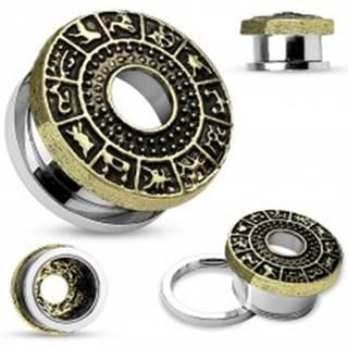 Tunel do ucha z chirurgickej ocele, zlatá farba, patinovaný zverokruh - Hrúbka: 10 mm