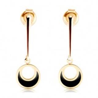 Zlaté náušnice 585 - kruh visiaci na rovnej paličke, výrez, čierna glazúra
