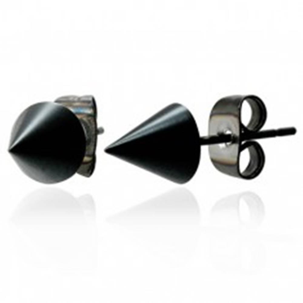 Šperky eshop Čierne lesklé náušnice z chirurgickej ocele, zrezaný kužeľ, 6 mm