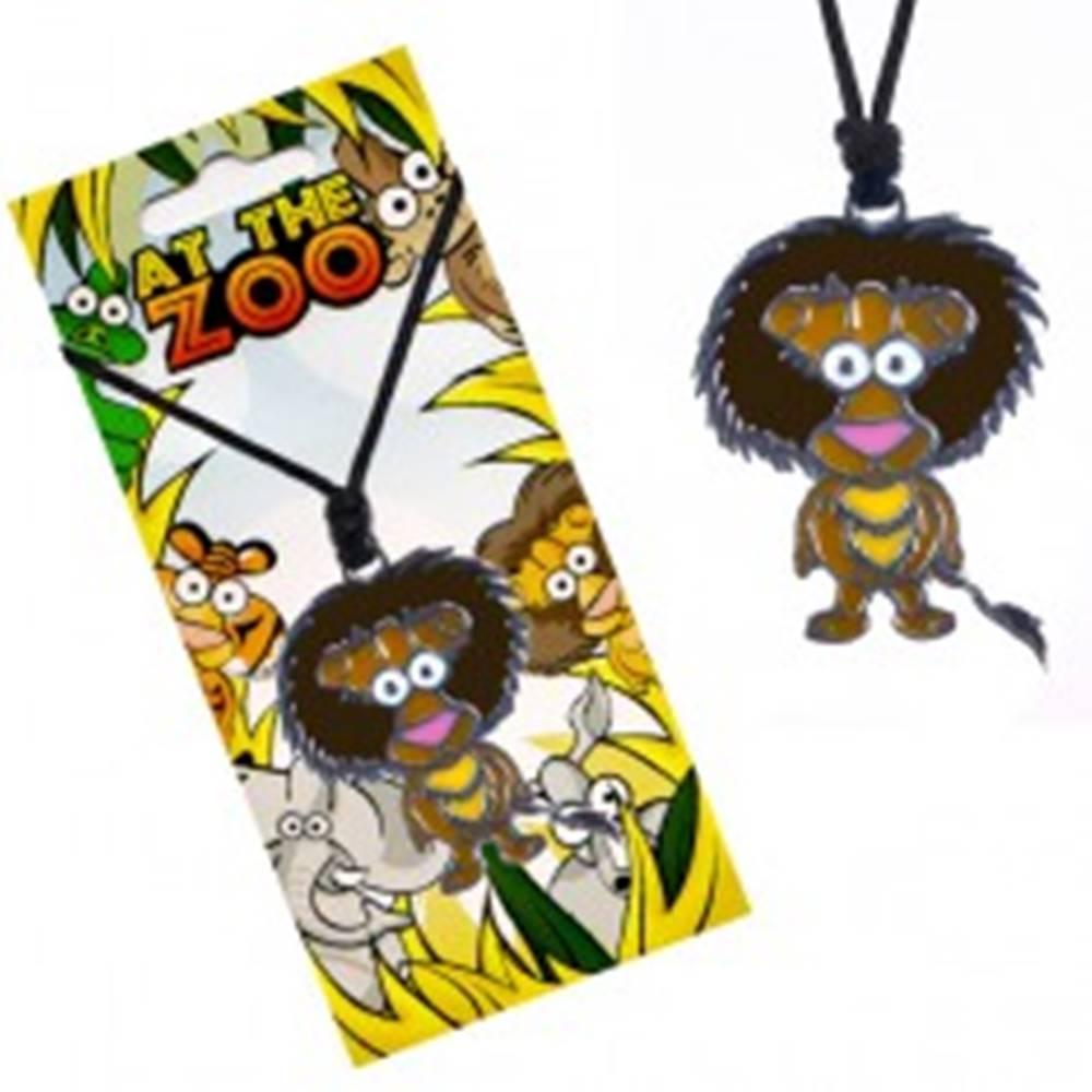 Šperky eshop Čierny náhrdelník s farebným príveskom leva, na šnúrke