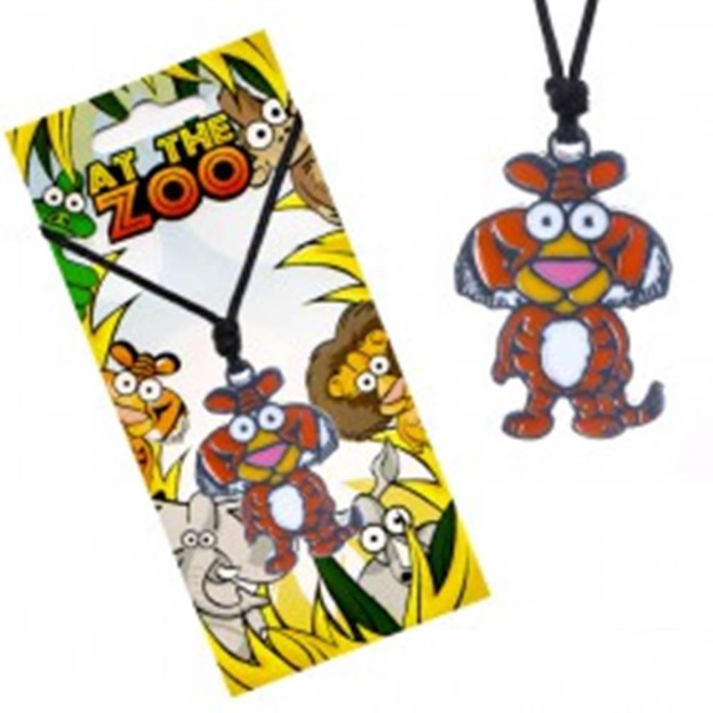 Šperky eshop Čierny náhrdelník so šnúrkou, farebný kovový prívesok tigra