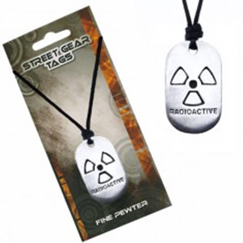 Šperky eshop Čierny šnúrkový náhrdelník, známka so symbolom rádioaktivity