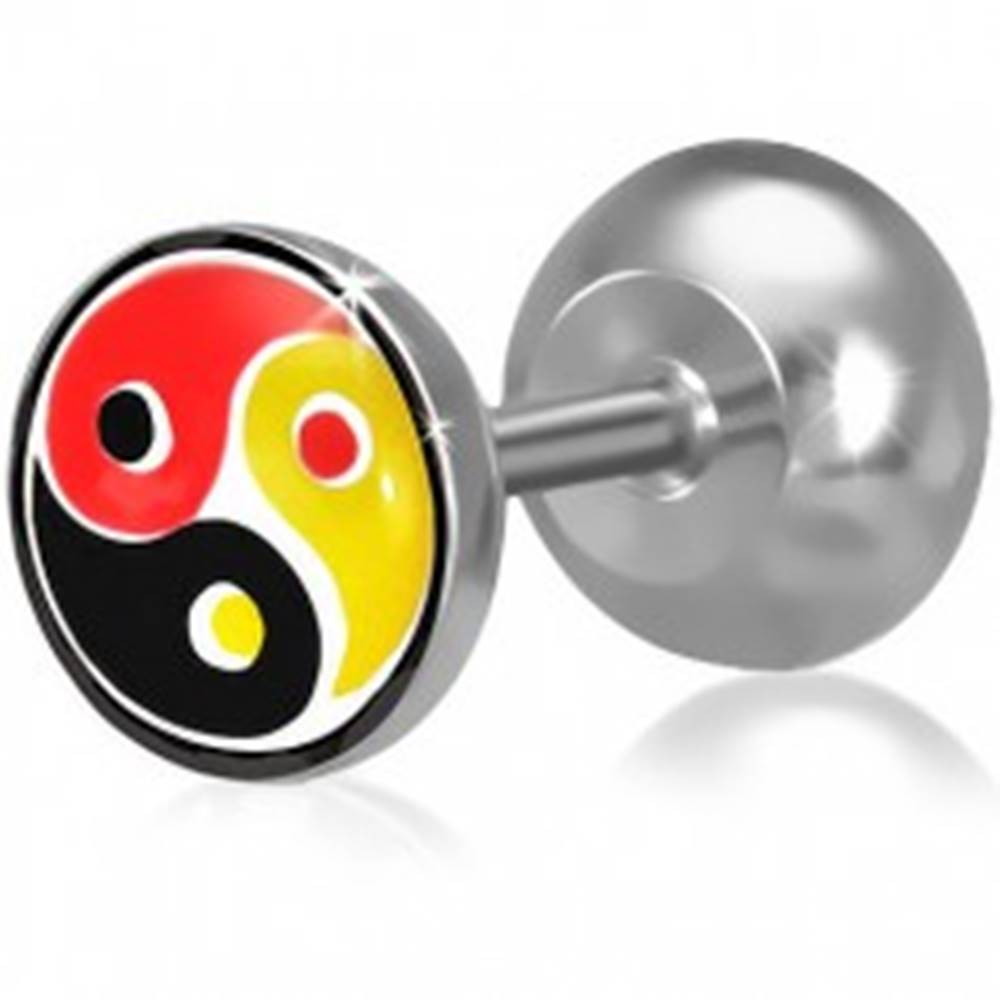 Šperky eshop Fake plug do ucha z ocele, farebný Yin-Yang motív