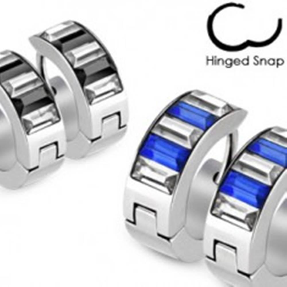 Šperky eshop Lesklé kruhové náušnice z ocele - podlhovasté dvojfarebné zirkóny - Farba: Čierna