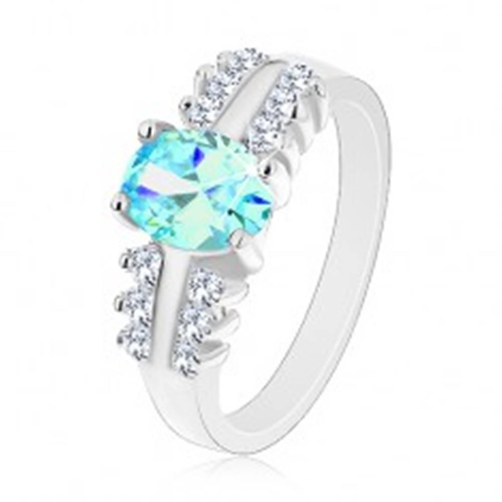 Šperky eshop Ligotavý prsteň z ocele, číre zirkónové línie, oválny farebný zirkón - Veľkosť: 48 mm, Farba: Oranžová