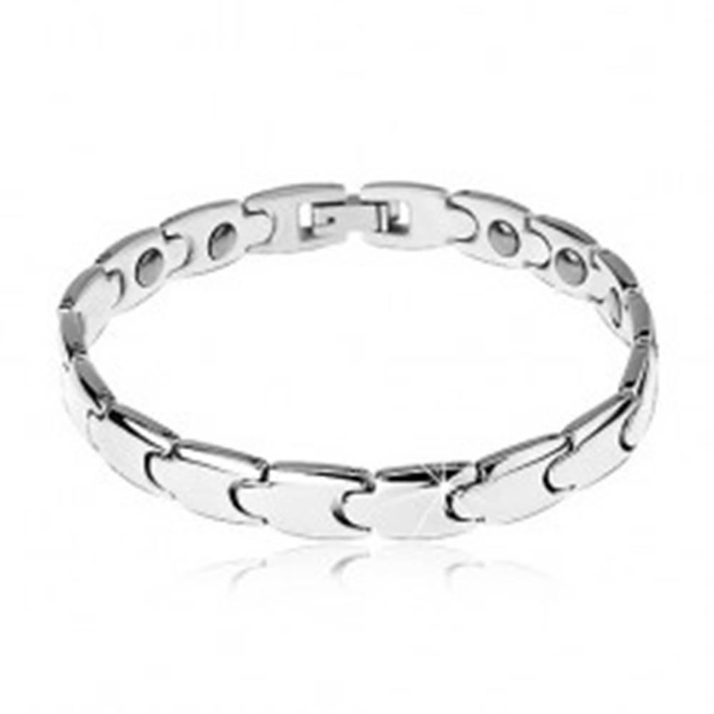 Šperky eshop Magnetický náramok z ocele 316L, strieborná farba, lesklé články - puzzle